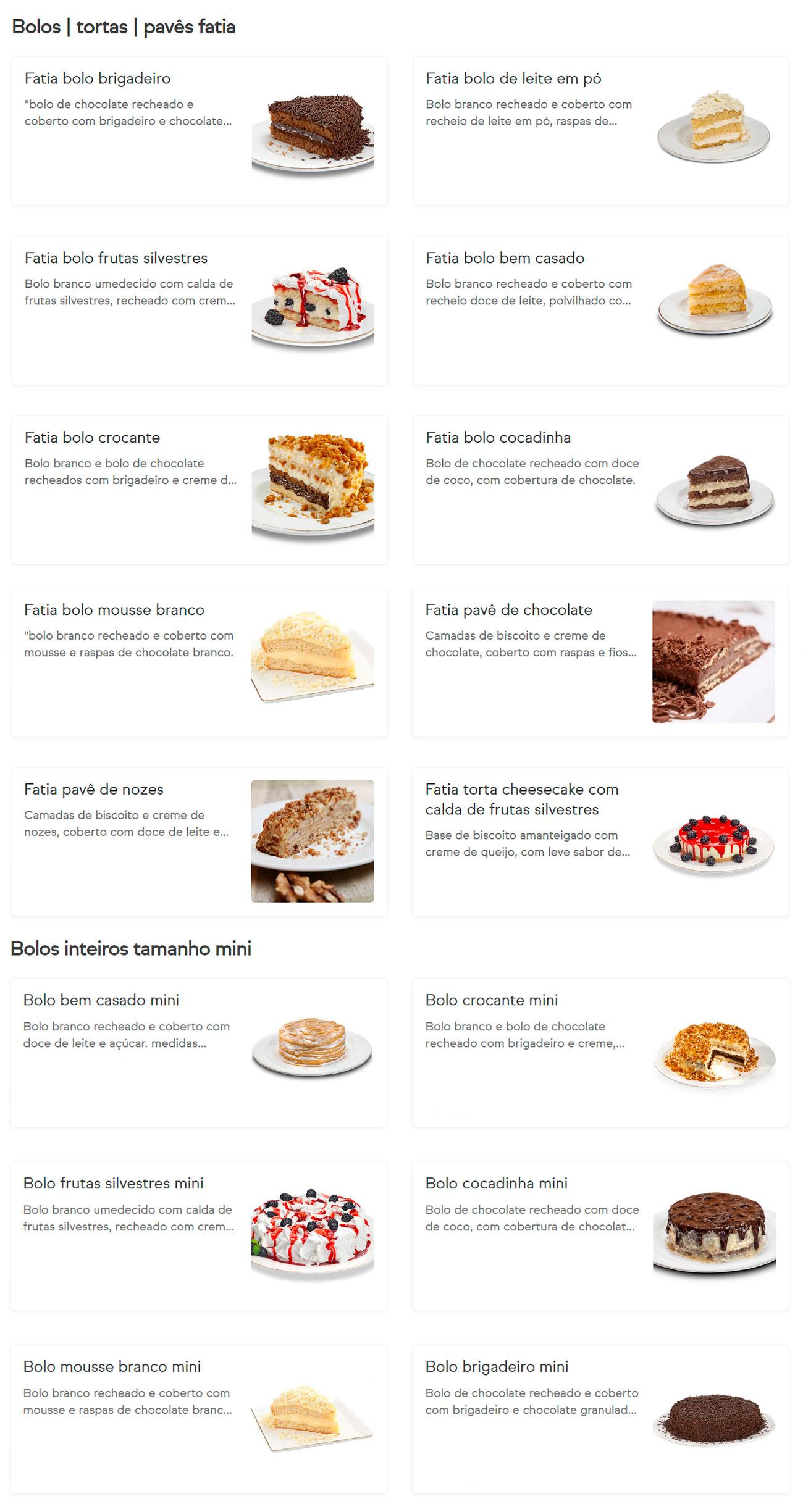AMOR AOS PEDAÇOS BOLOS TORTAS PAVÊS BOLOS INTEIROS TAMANHO MINI